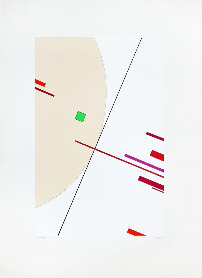 Untitled is a beautiful colored lithograph on paper, realized in 1975-76 by the Italian artist, Luigi Veronesi.  Hand-signed and numbered in pencil on lower margin. Edition of 100 prints.  This contemporary artwork representing a synthetic abstract