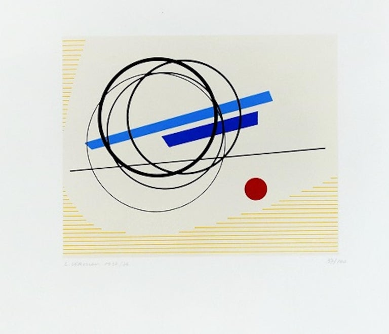 Image dimensions: 18x22.5 cm.  Untitled Serigraph is a beautiful colored serigraph on paper, realized in 1976 by the Italian artist, Luigi Veronesi. Hand-signed, dated and numbered in pencil on lower margin. Edition of 100 prints.  This contemporary