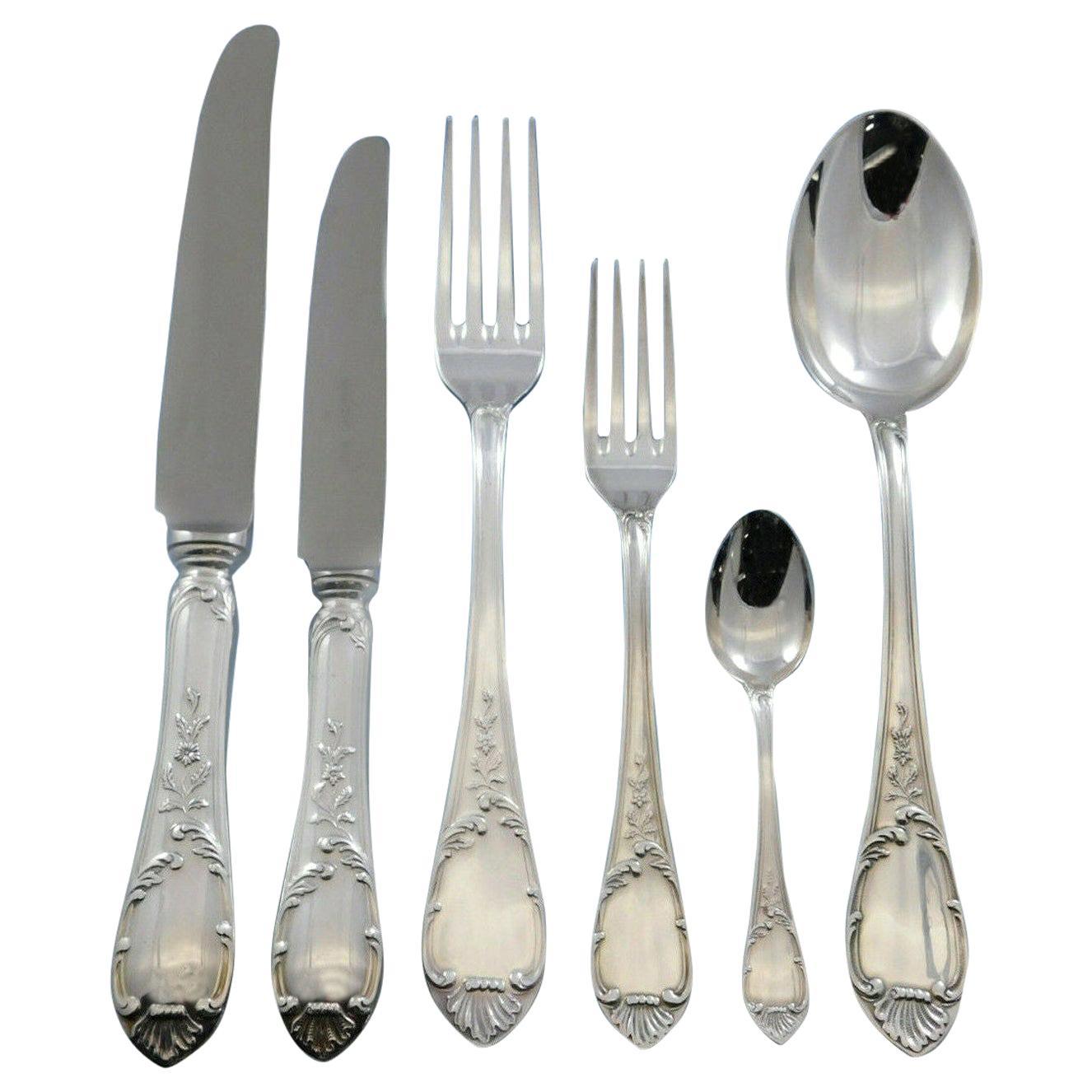 Luigi XVI by Calegaro Italy 800 Silver Flatware Set Service 24 Pieces Dinner