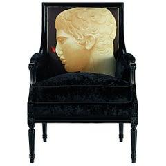 Luigi XVI-Canc Armchair in Lacquer & Printed Fabric, Paolo Canciani & Zanaboni
