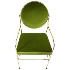 Luigina 24-Karat Gold Pea Chair in Cotton Velvet, Made in Italy