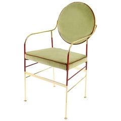Luigina 24-Karat Gold Sage Velvet Chair Made in Italy