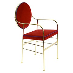 Velvet Dining Chair Red, by Paolo Calcagni, In Stock in Los Angeles