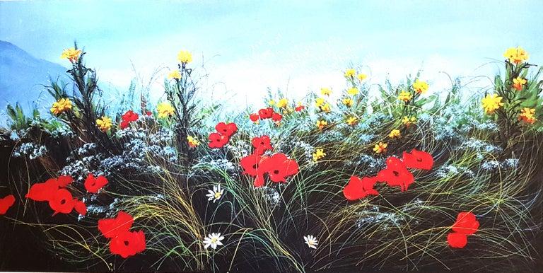 Wildflowers - Original Screen Print - 1980s - Blue Landscape Print by Luigino Rossi Garzione