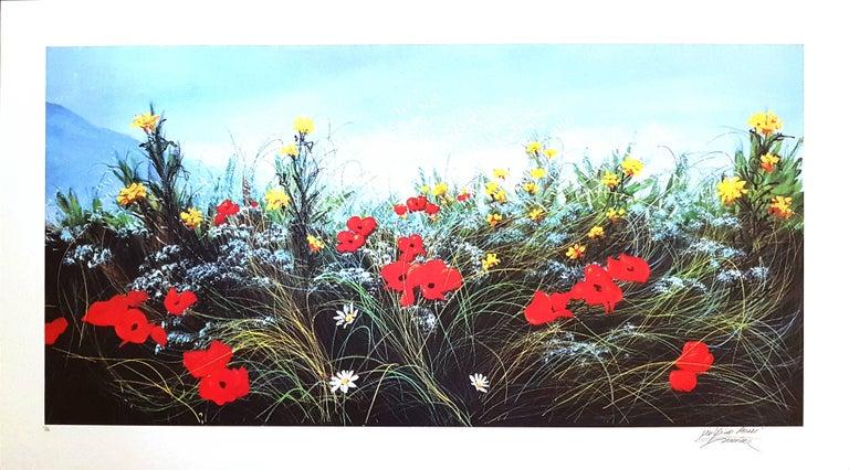 Luigino Rossi Garzione Landscape Print - Wildflowers - Original Screen Print - 1980s
