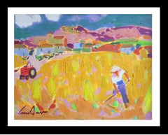 """""""WHEAT FIELD"""" original expressionist acrylic canvas painting"""