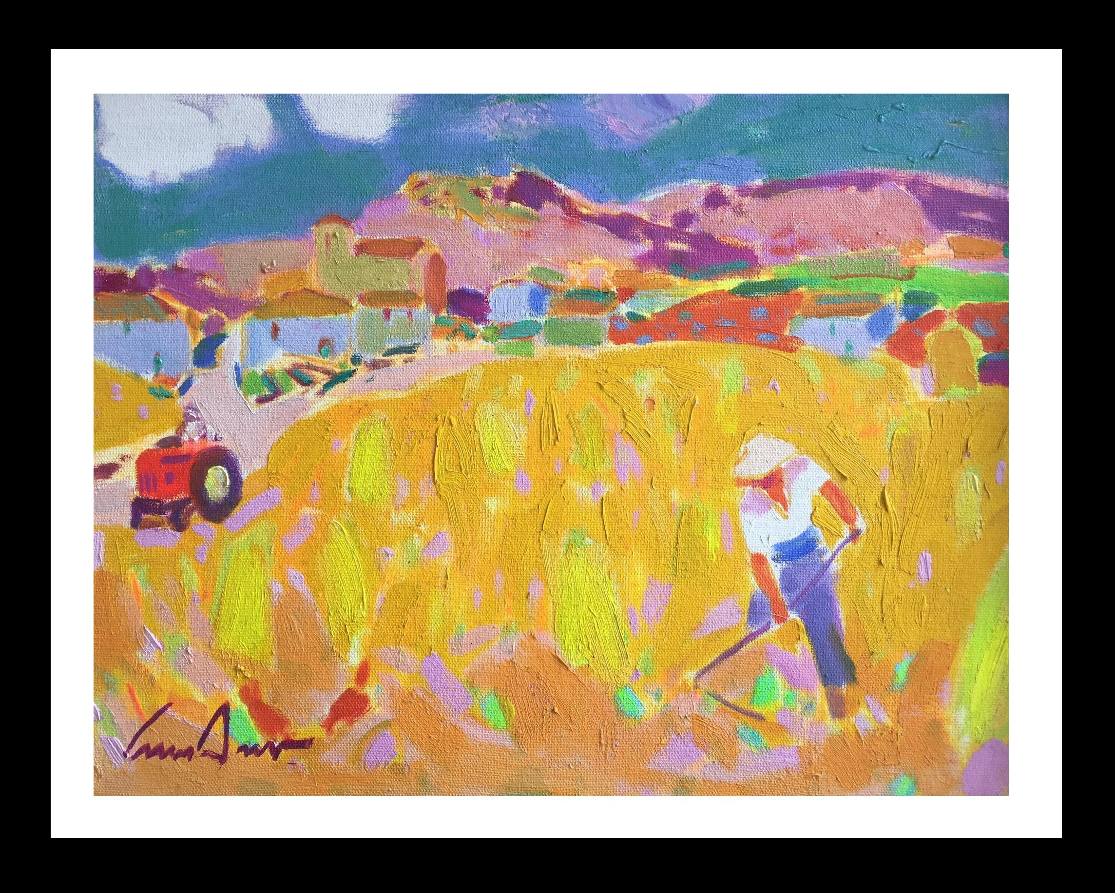 """WHEAT FIELD"" original expressionist acrylic canvas painting"