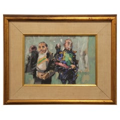 Modern Abstract Impressionist Portrait Painting of Two Men in Military Regalia