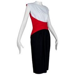 Luis Estévez Red White Black Sculptural Matador Sheath Dress - M-L, late 1950s