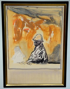 """""""The Miner"""" - Vertical framed painting in black and ochre."""