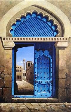 Ancient Door - original classical cityscape painting modern contemporary Art