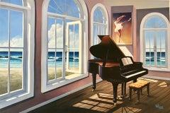 Ballerina House  original seascape oil painting 21st Contemporary modern art