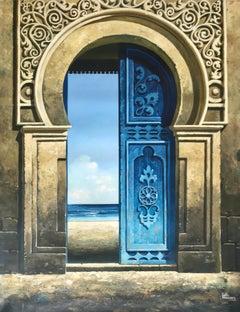 Blue Door to the Sea - blue realism landscape beach artwork contemporary