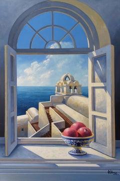 Blue Sky - original interior seascape oil painting 21st Contemporary modern art