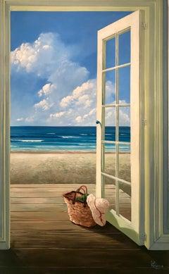 Ocean Breeze 1 - interior seascape oil painting 21st Contemporary modern art sky