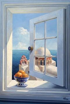 Open Window - original interior seascape oil painting 21st Contempora modern art