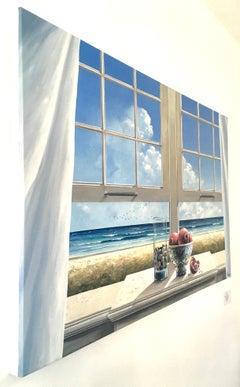 Open Window - original seascape blue painting contemporary modern art Realism
