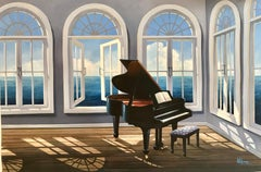 Piano House - original music seascape oil painting 21st Contemporary modern art