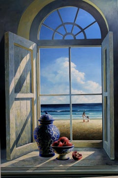 Sea View with Pomegranate & Chinese Vase original interior Landscape painting