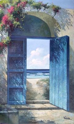 Secret Doors Original light seascape oil painting modern contemporary art