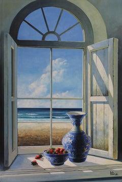 Summer Window original Sea Landscape painting 21st Century