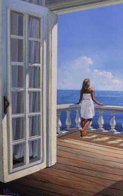 Sunny Balcony - original landscape seascape oil painting