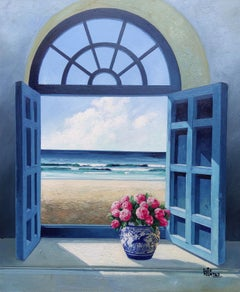 View With Peonies - floral seascape oil painting modern contemporary art