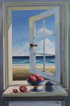 Window with Pomegranate original Sea Landscape painting 21st Century