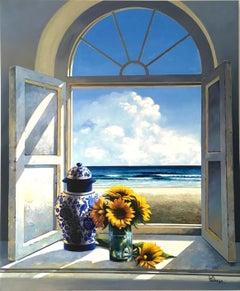 Window with Sunflowers original interior Landscape painting contemporary Art