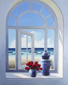 Window with Tulips - original Landscape painting modern contemporary Art