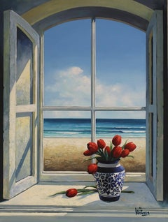 Window with Tulips original Sea Landscape painting 21st Century
