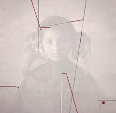 """""""Mobius - Joven Alado"""", unique portrait boy with wings photograph acrylic paint"""