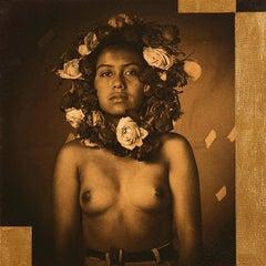 """Mobius (La Rosa)"" photograph on canvas, portrait woman with rose wreath"
