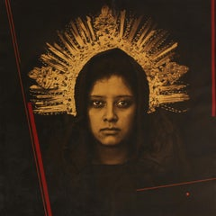 """""""Mobius - Virginal"""" photograph on canvas, woman with crown"""