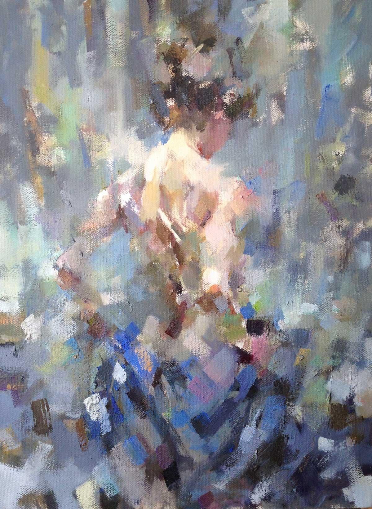 Ada with the Blue Cloth - Figurative Nude Painting: Oil on Canvas