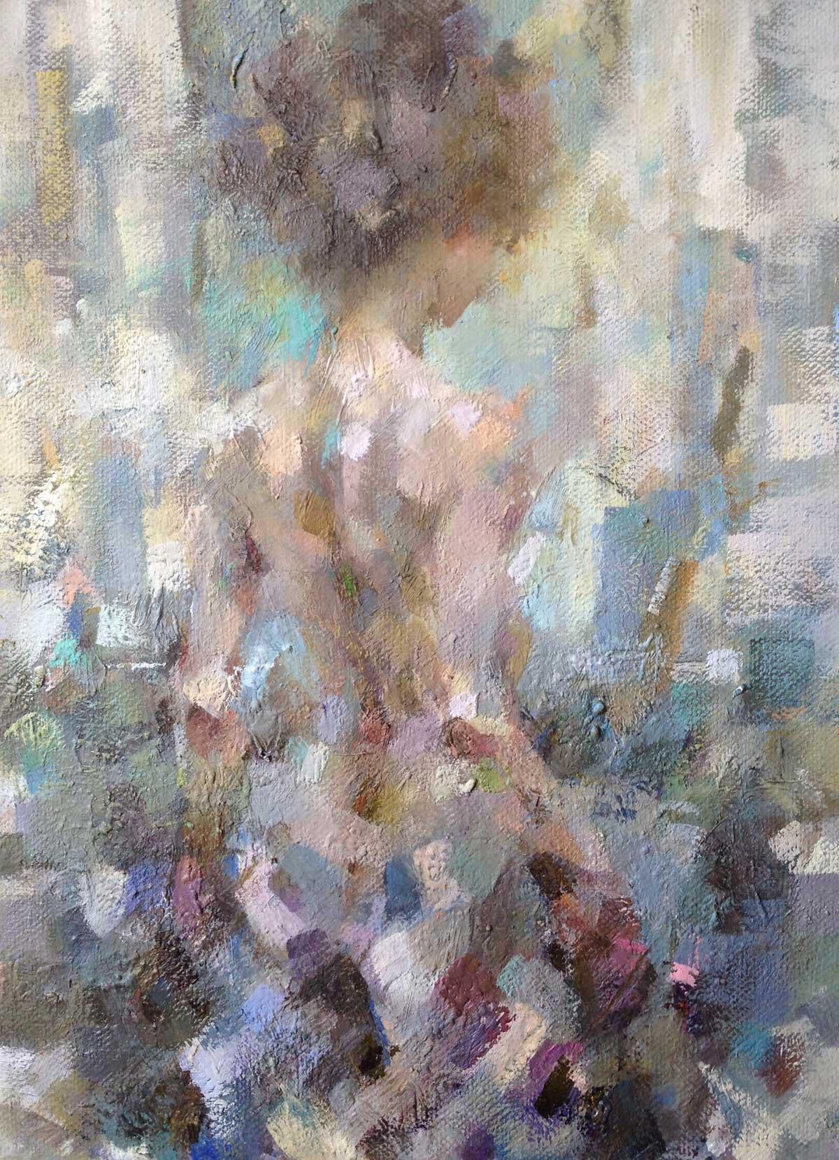 Mia at the Window - Figurative Nude Painting: Oil on Canvas