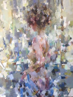 Rosa with the Blue Cloth - Figurative Nude Painting: Oil on Canvas