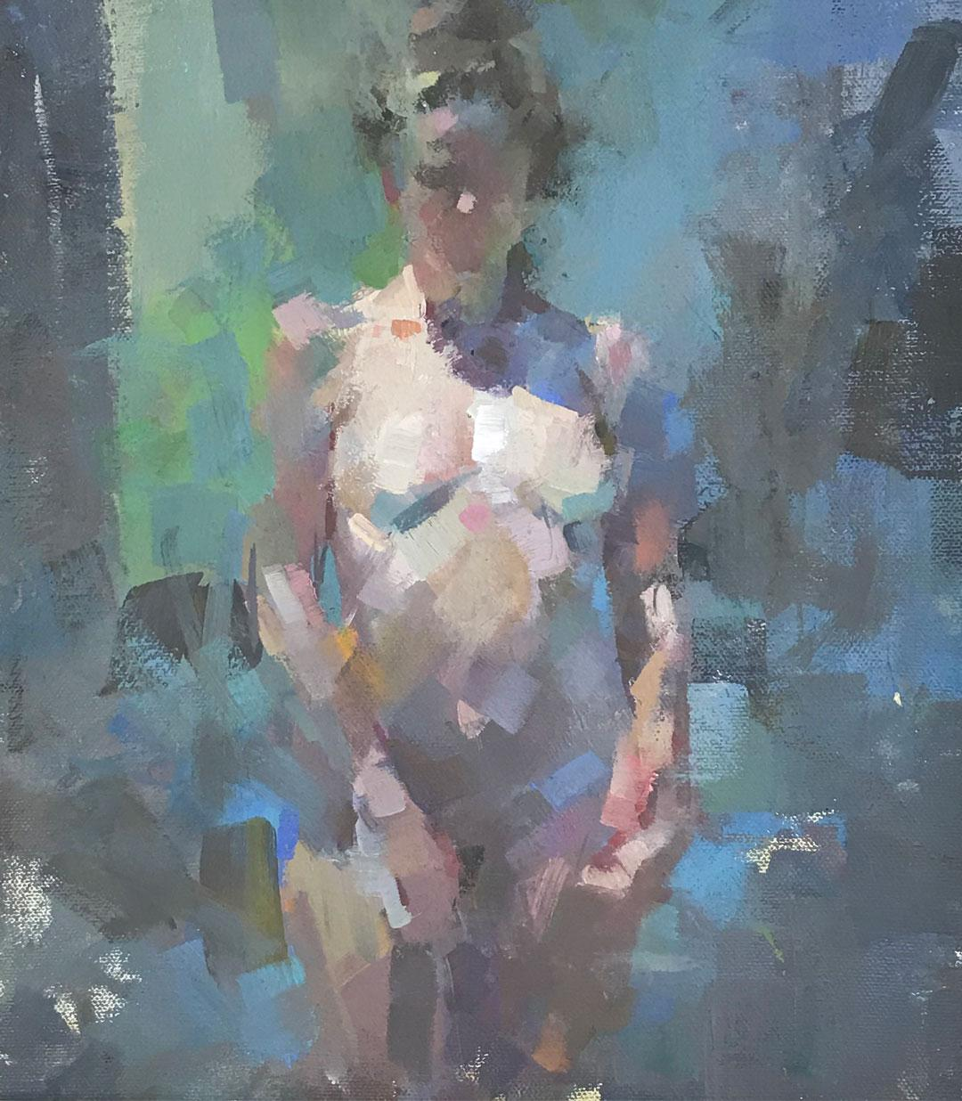 Vera in Sunlight -contemporary blue and pink figurative oil on canvas