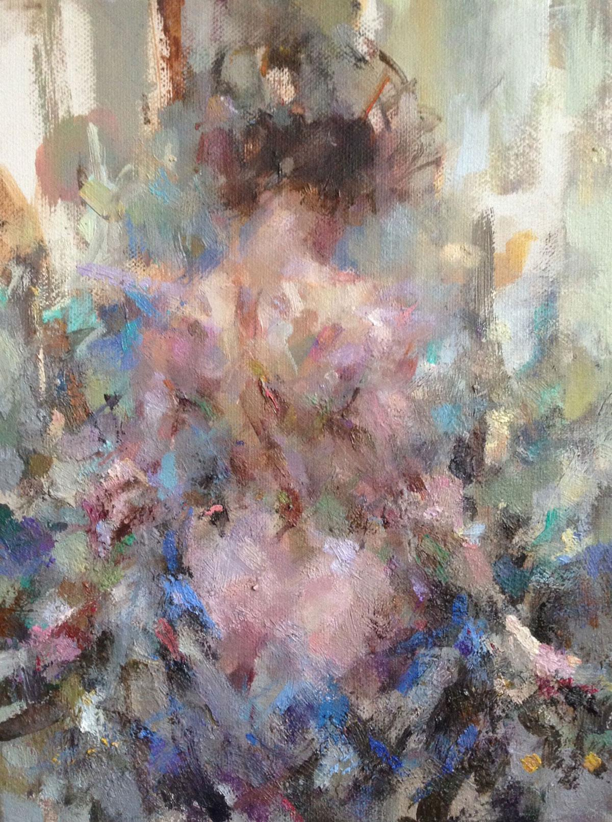 Vittoria, arms outstretched - contemporary figurative female nude oil painting