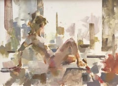 Watching - female nude figure oil on canvas