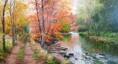 Contemporary Realist Orange Landscape painting 'Autumn Woodland' Trees, River
