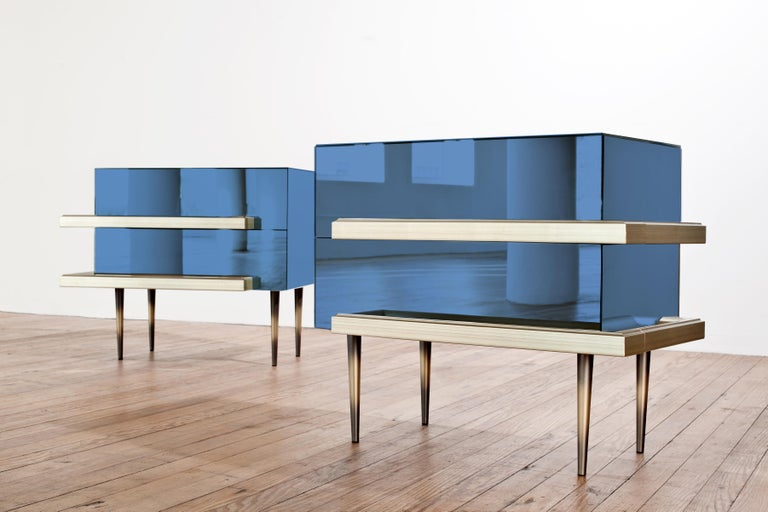 Bronzed Contemporary Mirrored Nightstands with Champagne Moldings Handles by Luis Pons For Sale