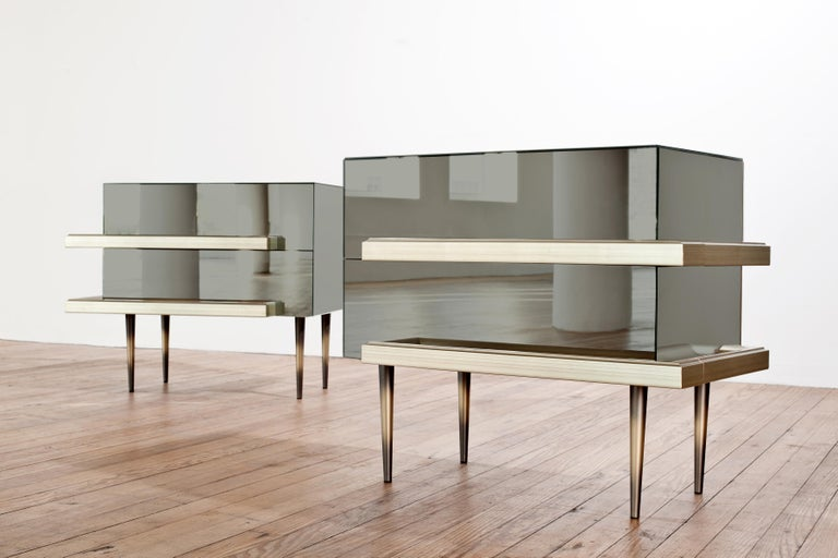 Contemporary Mirrored Nightstands with Champagne Moldings Handles by Luis Pons In New Condition For Sale In Miami, FL