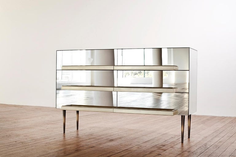 Contemporary Blue Mirrored Credenza with Champagne Molding Handles by Luis Pons In New Condition For Sale In Miami, FL