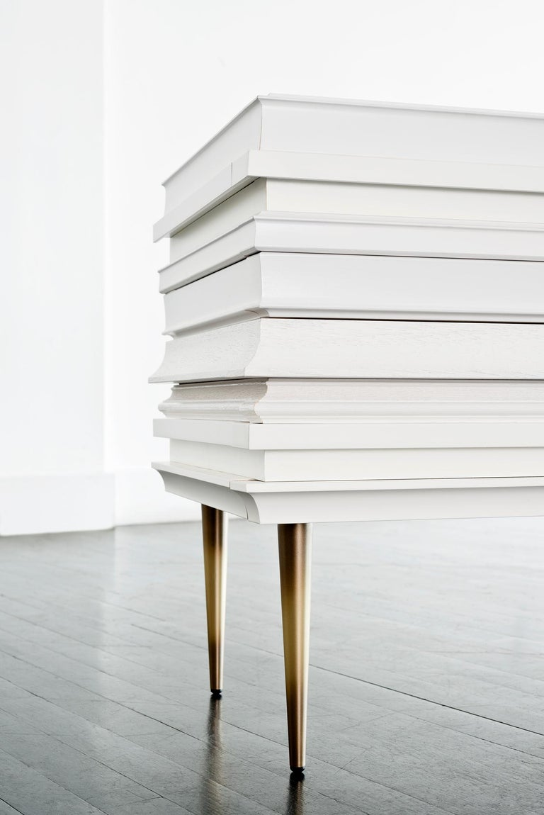 American Contemporary Lacquer White Wood Moldings on a Pair of Nightstands by Luis Pons For Sale