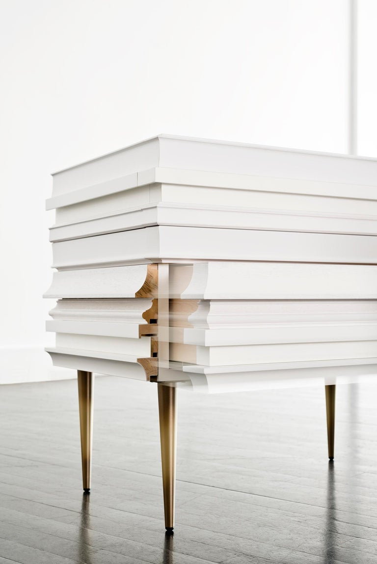Bronzed Contemporary Lacquer White Wood Moldings on a Pair of Nightstands by Luis Pons For Sale