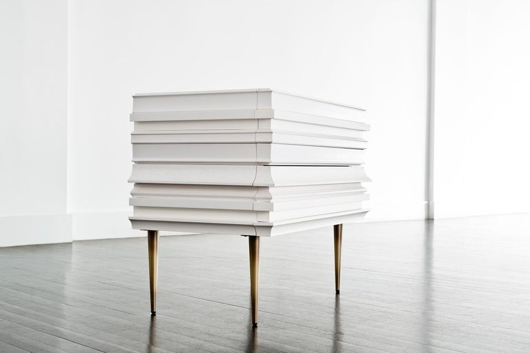 Metal Contemporary Lacquer White Wood Moldings on a Pair of Nightstands by Luis Pons For Sale