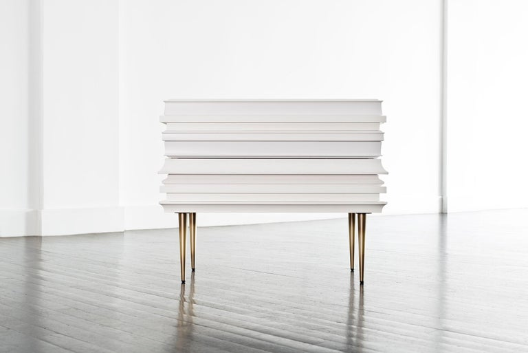 Modern Contemporary Lacquer White Wood Moldings on a Pair of Nightstands by Luis Pons For Sale