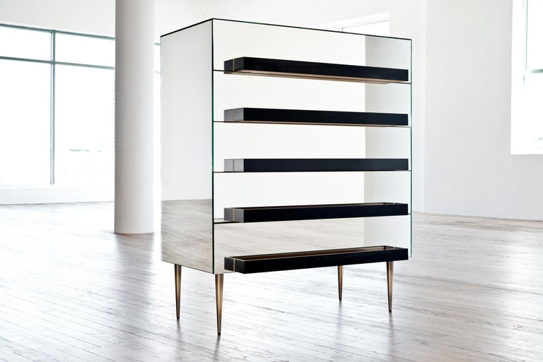 Modern Contemporary Mirrored Dresser with Grey and Silver Molding Handles by Luis Pons For Sale