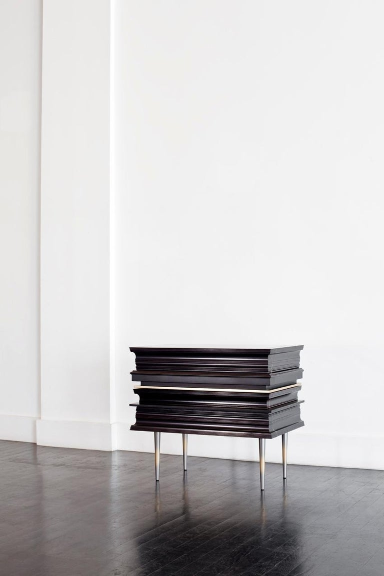 Contemporary Pair of Nightstands with a Dark and Silver Moldings by Luis Pons In New Condition For Sale In Miami, FL
